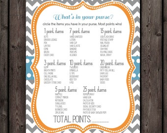 whats in your purse?  baby shower game, orange, teal blue and gray baby shower game, baby shower game instant download at purchase