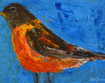 American Robin Painting Canvas Art. Impressionistic Acrylic Bird Painting. Songbird Animal Portrait Art. Apartment Decor. No 76