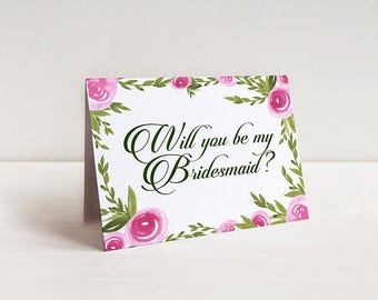 Will You Be My Bridesmaid Proposal - Bridesmaid Request Watercolor Wedding Card - Maid of Honor Card - Bridesmaid Gift Card Watercolor Roses