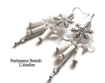 """Snowflake"" earrings in silver and white and silver glass beads"