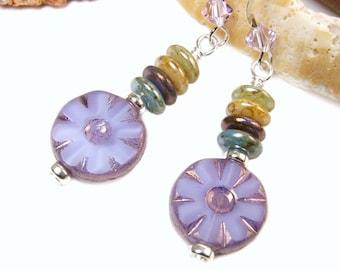 Purple Flower Earrings, Boho Earrings, Lavender Flower Dangles, Short Dangles, Czech Glass Dangles Unique Jewelry, Handmade Bohemian Jewelry