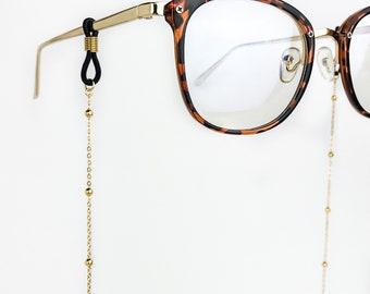 Gold Satellite Chain Glasses Chain, Beaded Eyeglass Chain, Sunglass Chain, Strap, Necklace, Eyeglasses Holder, Hanger, Eyewear Accessory