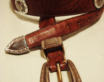 Vintage 1990s Distressed Leather Belt with Native Coin Head Conchos