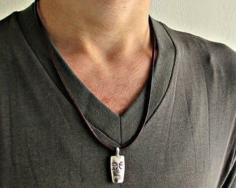 Rectangle Face, Mens Silver Rustic, Leather Necklace, Best Friend, Boyfriend Gift Adjustable