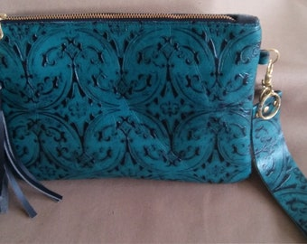 Embossed Leather Clutch, with leather wristlet and tassel,large leather clutch, zipper purse, leather purse, leather handbag, womens handbag