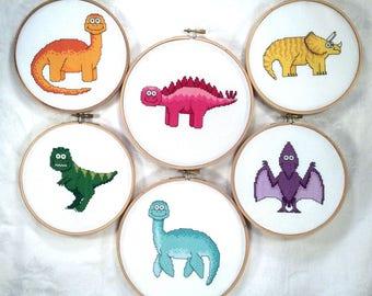 Dinosaur Friends cross stitch pattern bundle, dino needlepoint, brontosaurus, triceratops, stegosaurus, pteranodon, plesiosaur, trex PDF