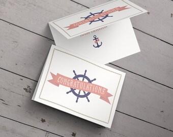 Congratulations Card: Bridal Shower // Engagement // Wedding // Nautical // Anchor // Ship Wheel // Love