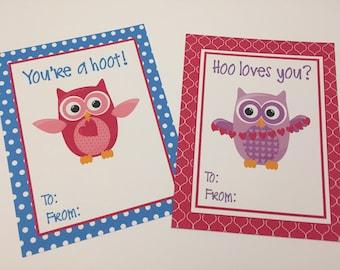 Owl Hoot Valentine - Printable Valentine - Valentines Day Card - Girl  - Valentine Card - Digital Valentine  - Preschool