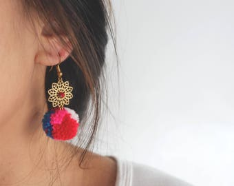 Handmade ethnic boho earrings with mix color pom pom