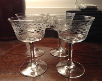 Four (4) Needle etched Cordial Glasses. Fostoria?