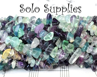 Rainbow Fluorite Chip Beads Multicolored Gemstone Tumbled Polished Nugget Beads in Purple Clear Green and More Rainbow Transparent Natural