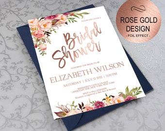 Rose Gold Bridal Shower Invitation, Bridal Shower Invite, Wedding Shower Invitations, Wedding Printable, DIY PDF Instant Download|VRD164BSRR