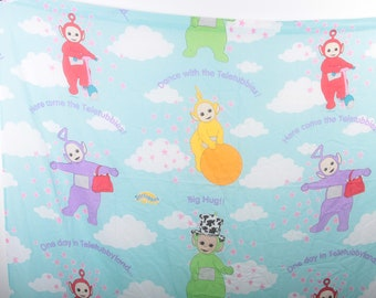 Teletubbies, Fitted and Flat Sheet, 1990s, Twin Bed Sheet, Blue, Clouds, Children, Collection, Vintage, Nostalgia, ~ 170415