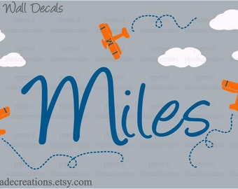 Airplane theme Personalized Initial Name Vinyl Wall Decal perfect decoration for nursery or playroom
