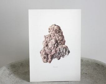 Vintage Mineral Lithograph Pink Analcime Limited Edition c. 1967