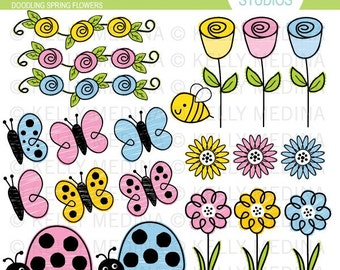 Doodling Spring Flowers - Clip Art Set - Digital Elements Commercial use for Cards, Stationery and Paper Crafts and Products
