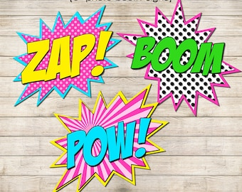 """Photo Booth Signs 6"""" & 8"""" - Superheroes Girls 