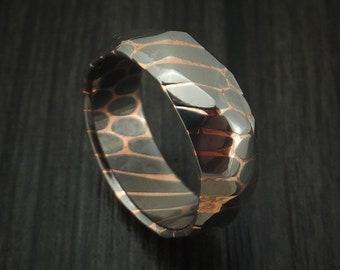 Faceted Superconductor Ring Custom Made Titanium-Niobium and Copper Band