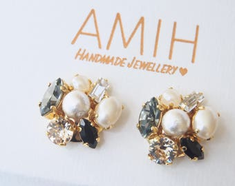 Black diamond Swarovski cluster earrings white pearl earrings wedding earrings cotton pearl gift for her wedding pearl bridesmaid earrings