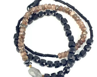 Andelusite, Spinel, Pyrite, and Labradorite with Glass Bugle Bead Necklace