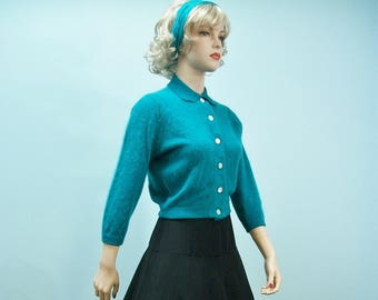 50s Angora Sweater . Vintage Turquoise Cardigan Sweater . Pin Up Fuzzy Cardigan . Rockabilly Sweater . S M