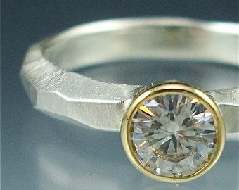 Chiseled Engagement Ring w/ 5mm Moissanite - sterling & 18k gold