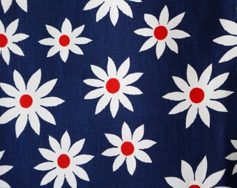 Navy blue and white 70's daisy flower fabric pointed petals vintage decor upholstery fabric