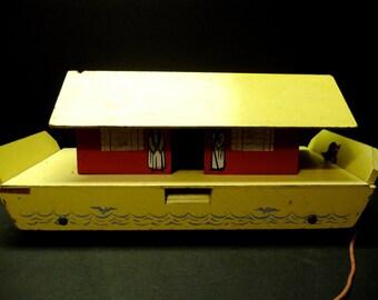 50% OFF - Vintage handmade wood Noah Ark Pull Toy