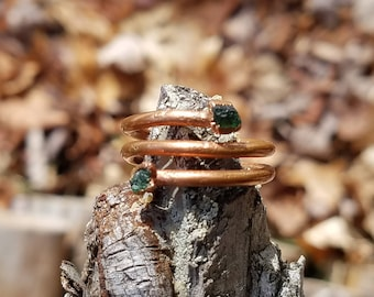 Emerald and Electroformed Copper Ring Size 8