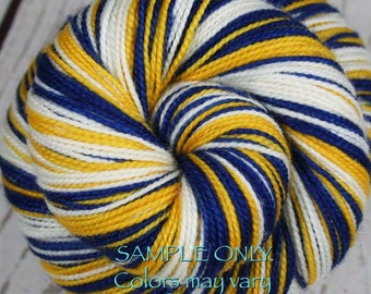 """Dyed to Order: Sports Team Self-striping Sock Yarn - """"Royal BLUE-GOLD-WHITE"""" - Hand dyed - Golden State, Oakland"""