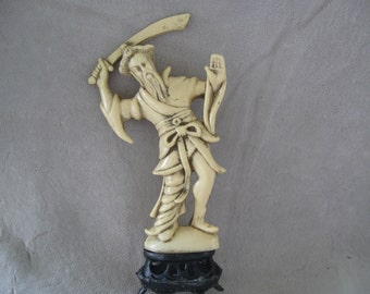 Warrior Asian Figurine Man with Sword made in Hong Kong Asian Decor Oriental Decor    free shipping in u s a