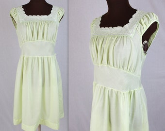 70's Day Dress / Lime Dress / Prairie Dress / Mini Dress (m)