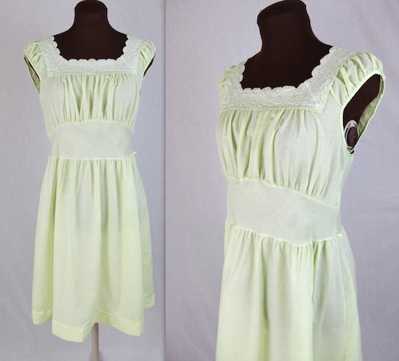 70's Day Dress / Lime Dress / Prairie Dress / Mini Dress (M) by Etsy