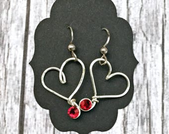 Sterling Silver Dangle Wire Wrapped Heart Earrings - Wire Wrap Valentine's Day Romantic Gift Jewelry  - Gift Wrapped For Her