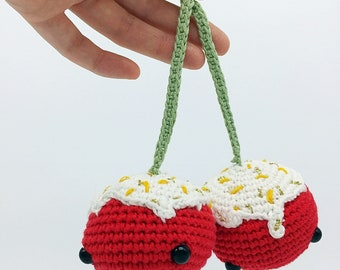Sale mothers icing with crochet Cherries / cherry crochet Chantilly