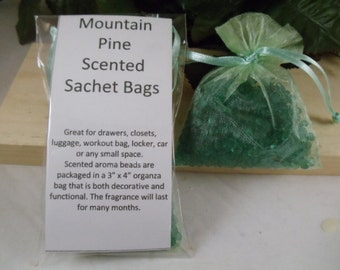 Mountain Pine Scented Sachet Bag - Smooth Inviting Scent -Great for Drawers, Closets, Luggage, Workout Bags- Hostess and Shower Gifts