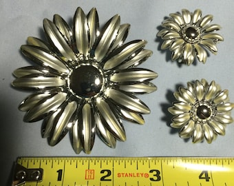 Large Silvertone Brooch and Earring Set