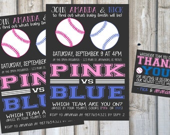 BASEBALL GENDER REVEAL Invitations & Thank You Gift Tags, Custom Chalkboard Invites, Baby Shower, Printable, Digital Download