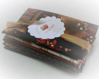Fat Eights Fabric Bundle   Maple Island   Holly Taylor   Moda   6 Medium Prints   Fabric Destash   Dark Brown Colorway   Fall Fabric Bundle