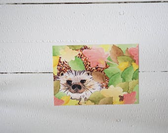Autumn colorful postcard with hedgehog (card, animals)
