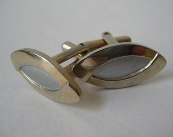 Gold Silver Cuff Links Vintage Marquise