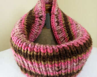 Hand Knit Cowl Infinity Scarf, CHOCOLATE RASPBERRY - Breast Cancer Awareness (556)