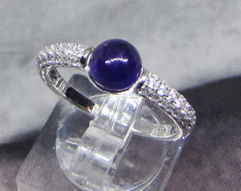 Ring silver amethyst and white Zirconium size 54
