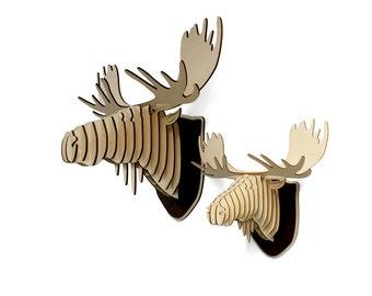 XL Wooden Moose Head Trophy, Birch Wood Moose Head, Wood Wall Art, Home Decor Animal Art