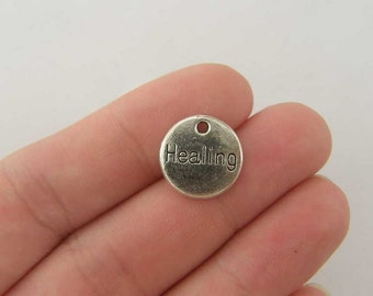 BULK 50 Healing charms antique silver tone M207