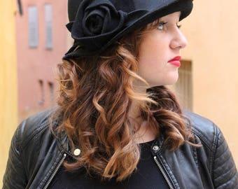 Black hat Cloche hat Winter hat Felt hats Womans winter hat 1920s hat Bucket hat Woman hat Derby hat Flapper hat Unique hat Pillbox hat