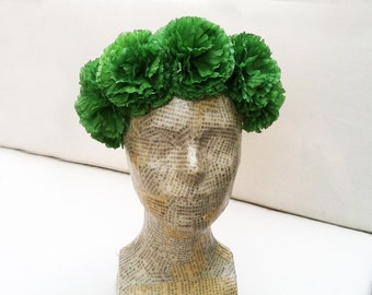 St. Patricks Day Green Flower Crown, Carnation Floral Crown, Green  Flower Headpiece, St. Patricks Day Costume, Pom Pom Headband, Crown