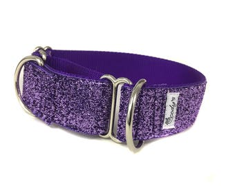 Wide 1 1/2 inch Adjustable Buckle or Martingale Dog Collar in Purple Glitter