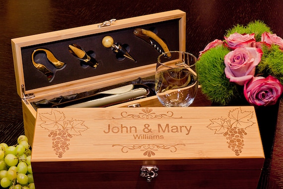 Best Wedding Gift For Couple: Gift For The Couple Bamboo Wine Box With Tools Custom