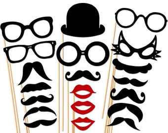 Great Photo Booth Props 20 Piece Set  - Mustache Glasses Lip Hat  - Wedding - Birthday